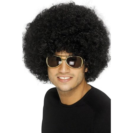 FUNKY AFRO WIG black 1970s big hair disco perm fro halloween costume accessory (Short Black Wig With Bangs)