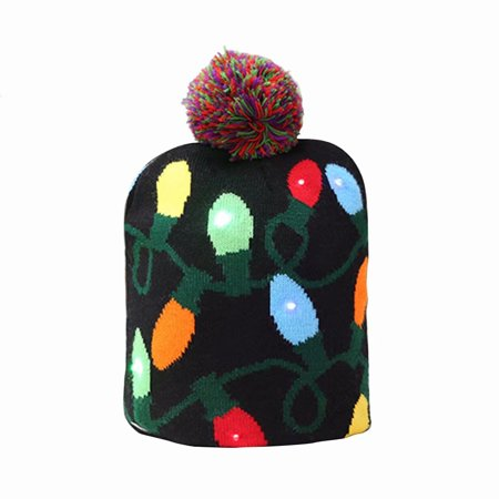 Christmas Hats With Lights (Christmas Hat, Light up Knit Beanie Cap Knitted Winter Warm Hat for Kids)