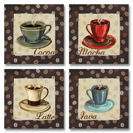 Cup of Joe Vintage Coffee Art Print Posters by Paul Brent, 12X12, Set of 4 - Four Poster Finials