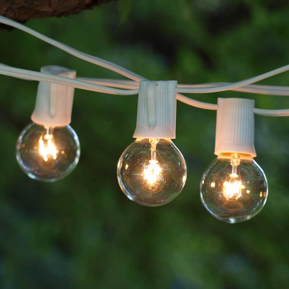 Globe Patio Lights   50 Ft White C9 Cord   G40 Clear Bulbs