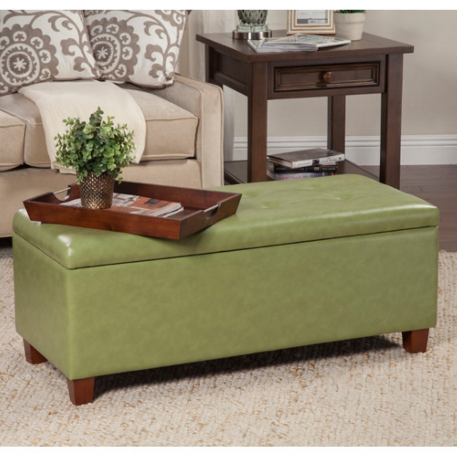 Kinfine USA Large Leatherette Storage Bench