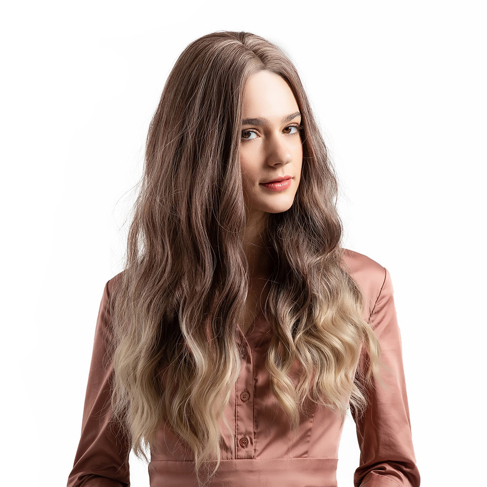 Tuscom Gradient Blonde Long Curly For Woman Wig Simulation Hair Wigs + Free Wig Cap