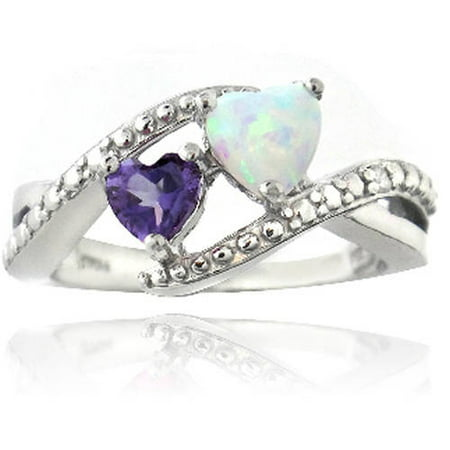 Diamond Accent Amethyst and Created White Opal Sterling Silver Heart (Diamond Created Opal Heart Ring)