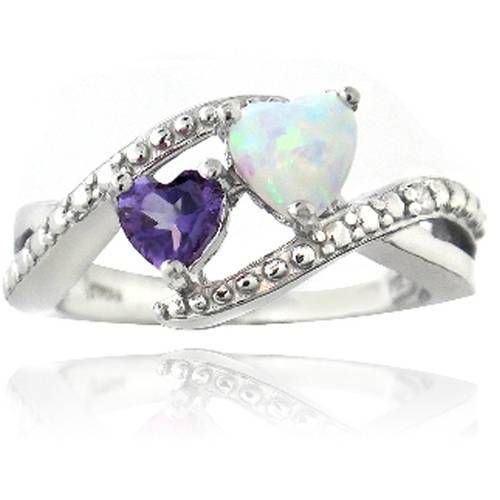 Diamond Accent Amethyst and Created White Opal Sterling Silver Heart Ring