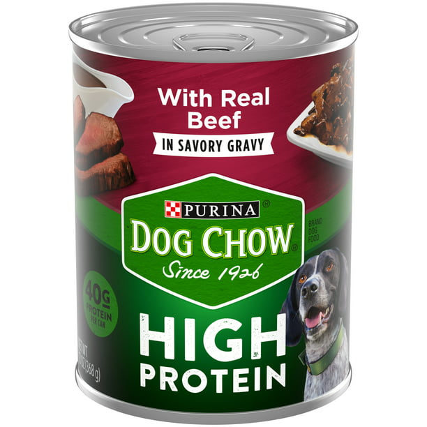 (12 Pack) Purina Dog Chow High Protein Gravy Wet Dog Food, High Protein With Real Beef, 13 oz. Cans