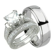 set silver wedding bridal ring sterling with jewelry cz cut center square stone princess rings