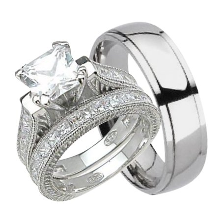his and hers wedding ring set matching trio wedding bands for him titanium and - Walmart Wedding Ring Sets