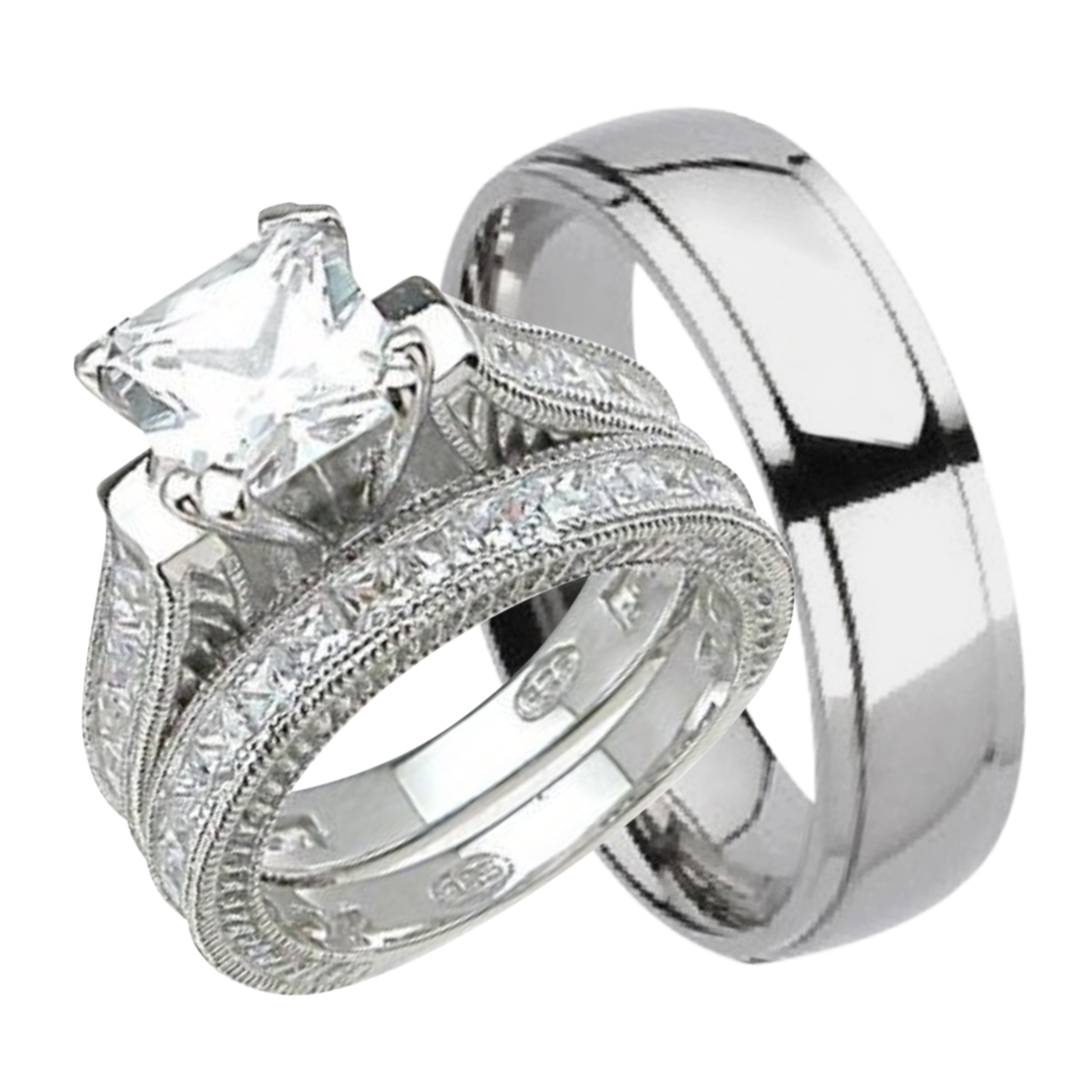 Charmant His And Hers Wedding Ring Set Matching Trio Wedding Bands For Him  (Titanium) And
