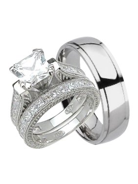 His And Hers Wedding Ring Set Matching Trio Bands For Him Anium