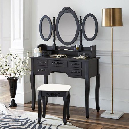 best website ee405 fcd76 Ktaxon Black Dressing Table Makeup Desk Set 360° Rotation 3 Mirrors with 7  Drawers