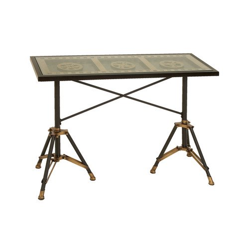 Woodland imports movie reel console table for Table 9 movie