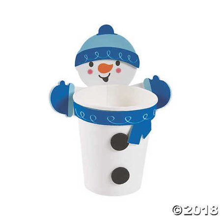 Snowman Treat Cup Hugger Craft Kit - Snowman Out Of Cups