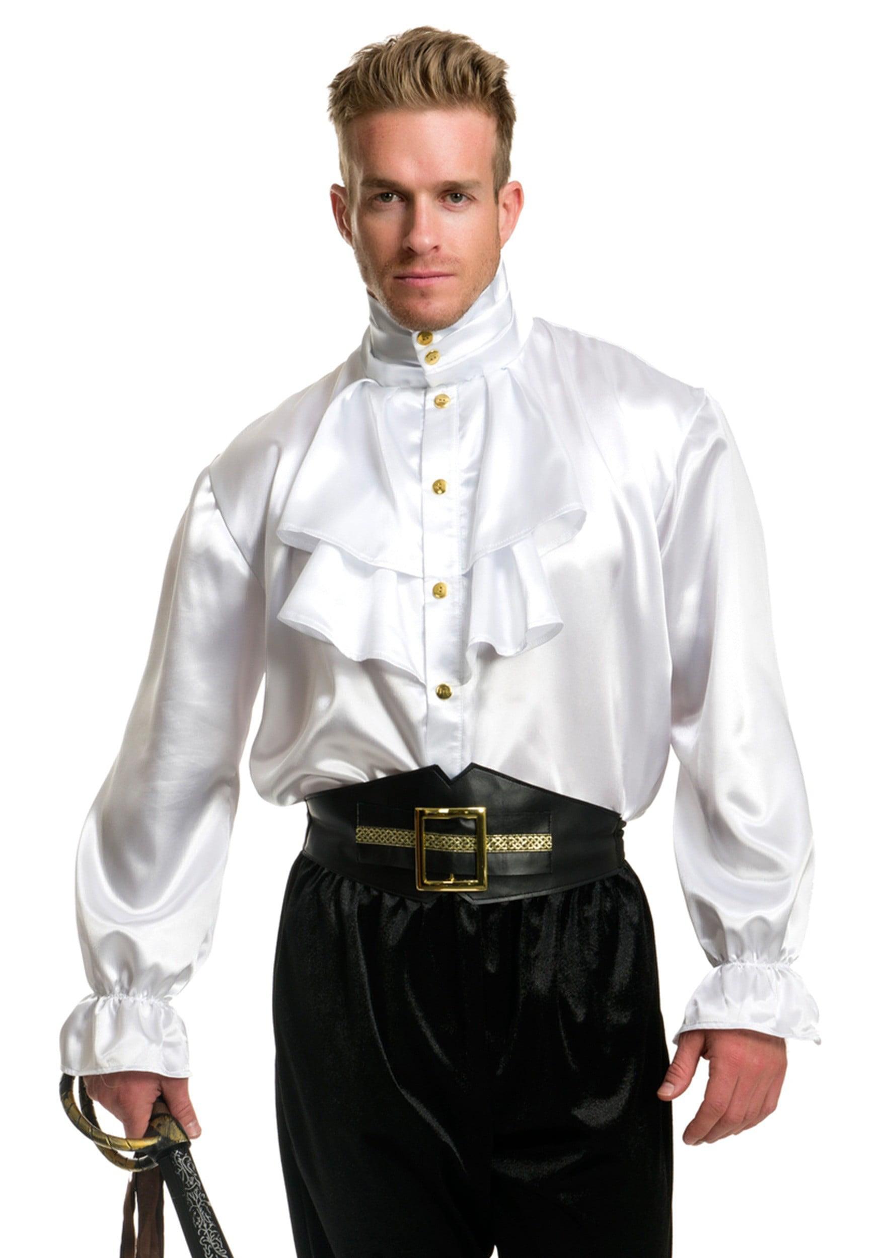 Mens White Premium Adult 2-Tier Ruffle Satin Pirate Shirt ...