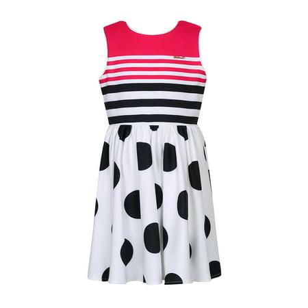 Richie House Girls' Striped Polka Dot Summer Dress (Little Black Dot On The Sun Today)