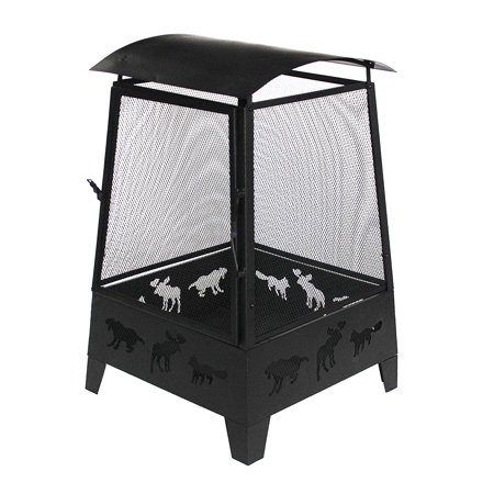ALEKO Steel Outdoor Fireplace with Spark Screen Mesh Lining and Laser Cut Animal Design - 32 Inches - Black