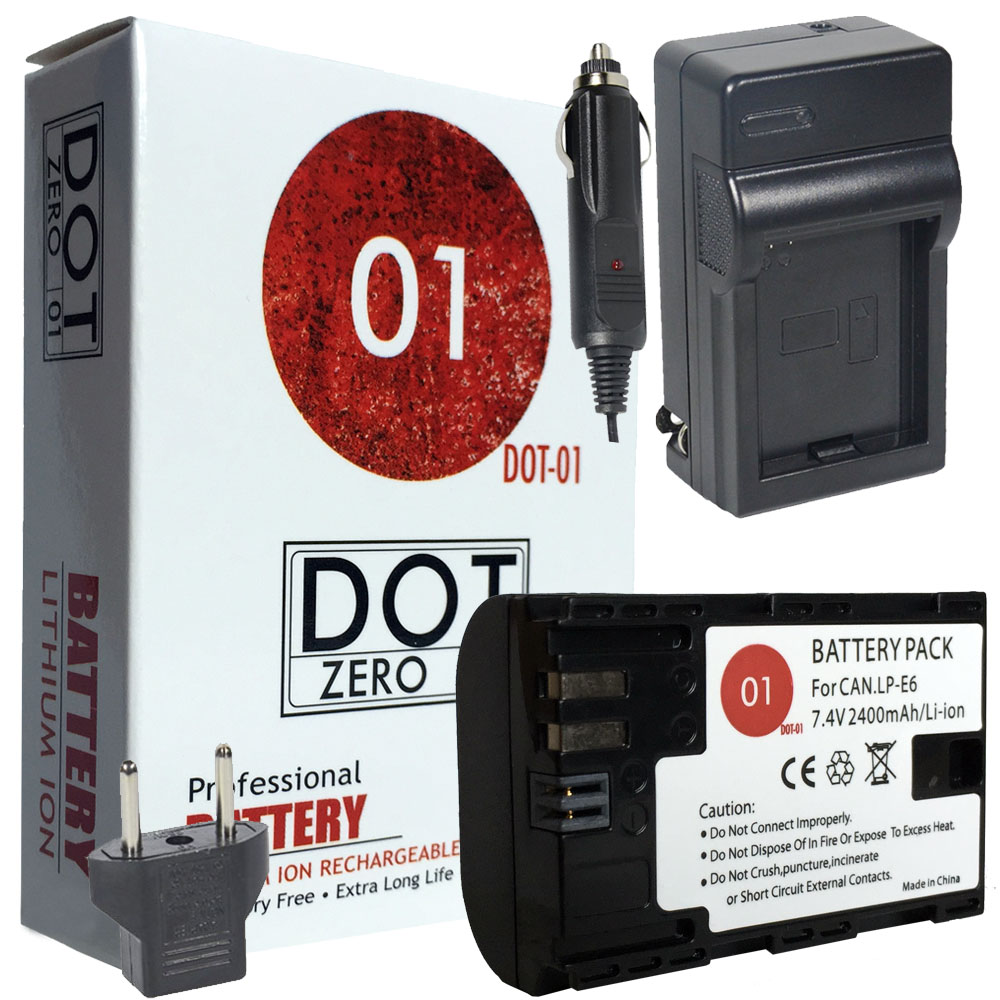 DOT-01 Brand 2400 mAh Replacement Canon LP-E6 Battery and Charger for Canon EOS 70D Digital SLR Camera and Canon LPE6