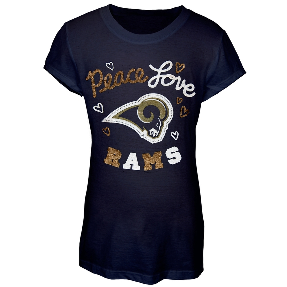 St. Louis Rams - Peace Love Girls Youth T-Shirt