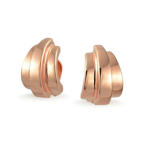 Vintage Rose Pierced Earrings (Geometric Shrimp Half Hoop Clip On Earrings For Women Non Pierced Ears Shinny Rose Gold Plated Brass )