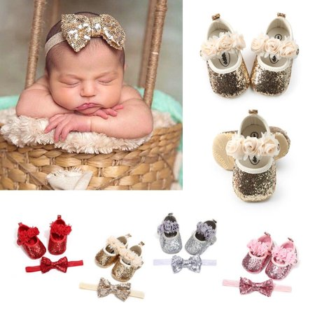 Newborn Baby Girl Sequins Glitter Crib Shoes+Hairband Soft Sole Shoes Prewalker - Glitter Shoes Girls
