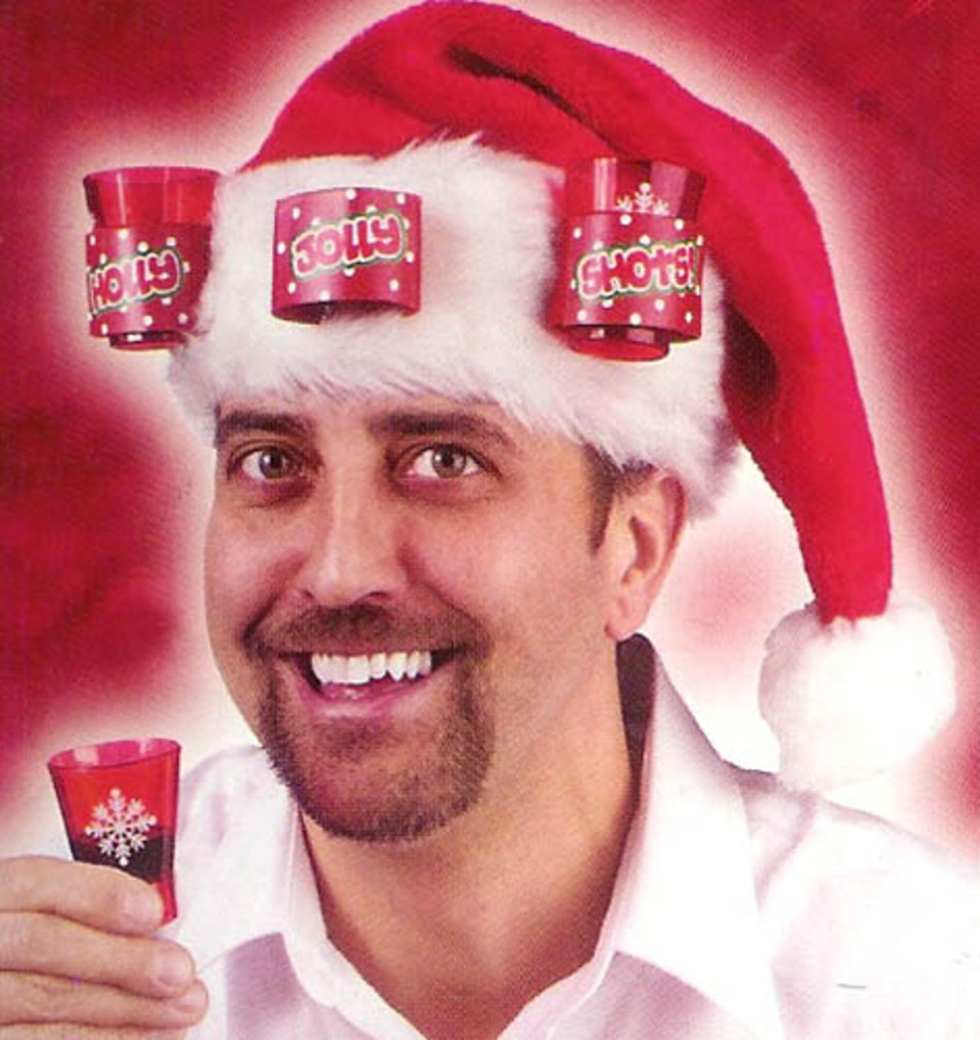 The Ultimate Adult Party Christmas Santa Hat - Holds 3 Shot Glasses