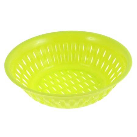 Home Plastic Round Hollow Out Fruit Vegetable Plate Basket Tray Green ()