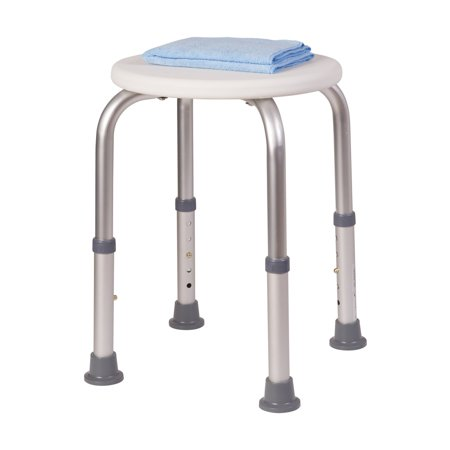HealthSmart Extra Compact Lightweight Shower Stool with Adjustable Height, Excellent for Small Showers and Bathtubs, RVs and Boats, White ()