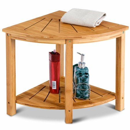 - Gymax Corner Shower Beach Bamboo Spa Seat Stool Bathroom Organizer