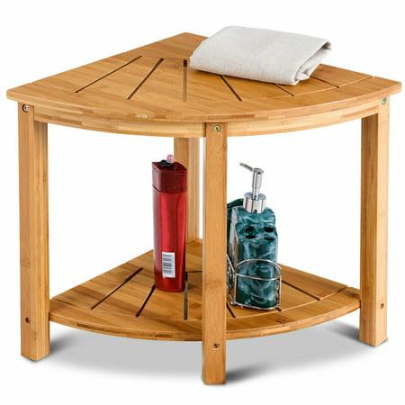 Gymax Shower Beach Bamboo Spa Seat Stool Bathroom Organizer w/Storage Shelf (Corner Shower Stool)