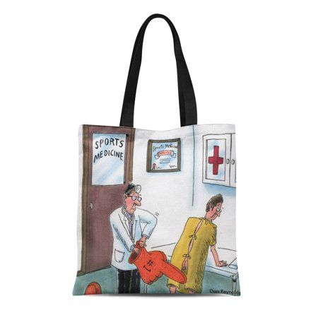ASHLEIGH Canvas Tote Bag Unwrapped Dan Reynolds Sports Humor Proctologist Urologist Cartoons Reusable Handbag Shoulder Grocery Shopping Bags