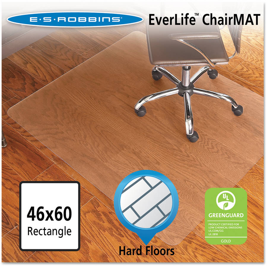 ES Robbins Chair Mat for Hard Floors, Rectangle, 46w x 60l, Clear
