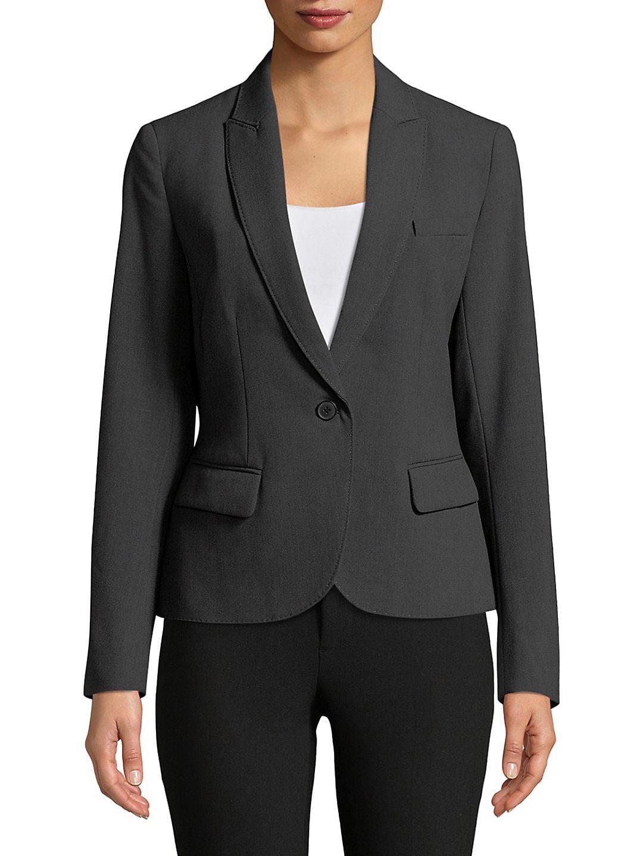 Anne Klein NEW Black Blazer One-Button Women's 8 Notched-Collar Jacket