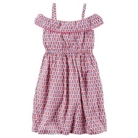 Carters Little Girls Silky Pom-Pom Ruffle Dress - Pom Pom Girl Dress Up