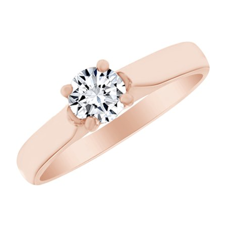 Round Cut Cubic Zirconia Solitaire Engagement Ring in 14k Rose Gold Over Sterling Silver (0.50 Cttw) Size - 8.5