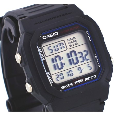 Casio W800H-1AV Men's Resin Band 100M Snooze Alarm Chronograph Digital Watch
