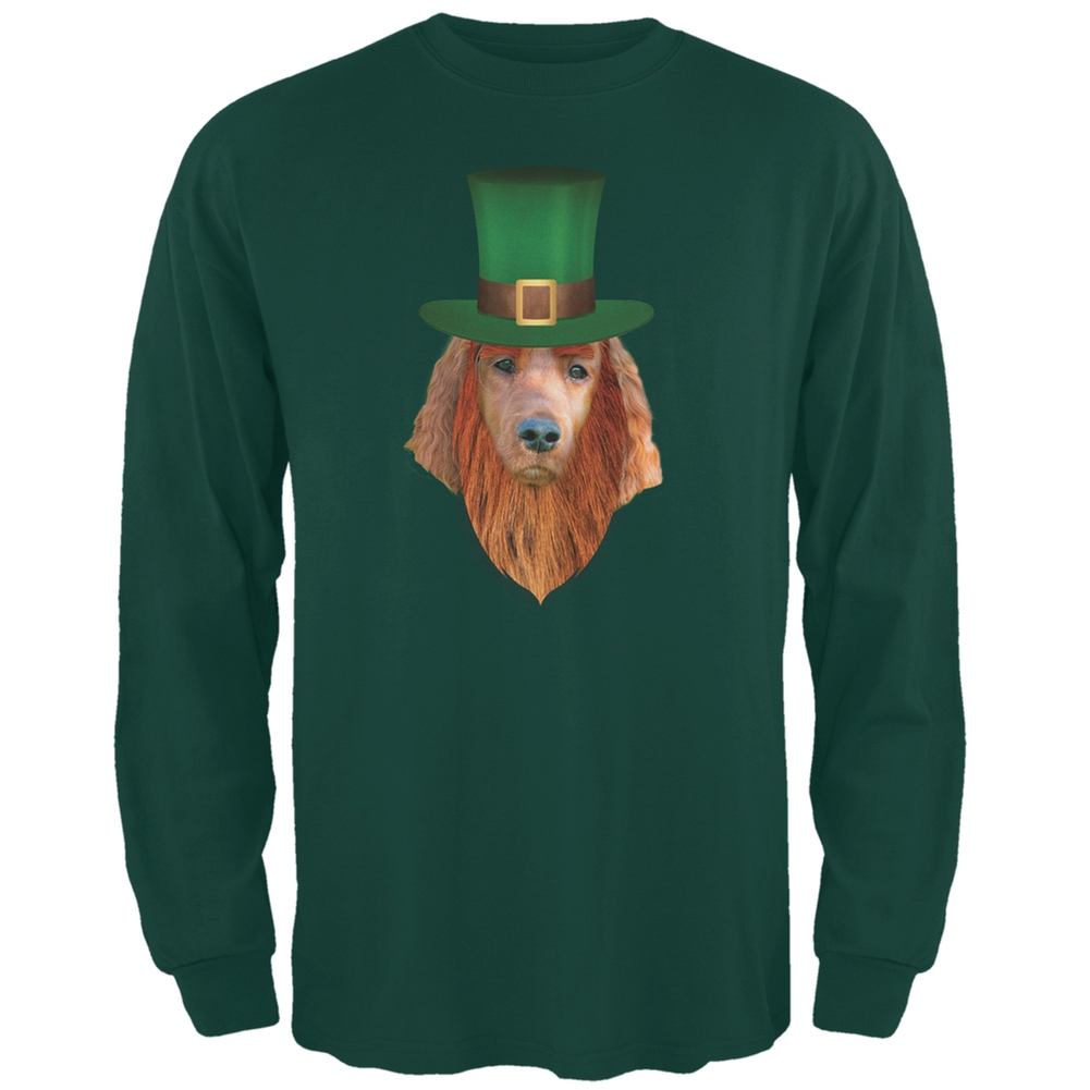 St. Patricks Day - Irish Setter Leprechaun Forest Green Adult Long Sleeve T-Shirt