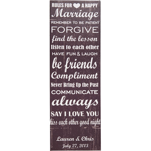 "Personalized Rules To A Happy Marriage 9"" x 27"" Canvas"