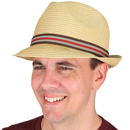 Perfect Gentleman Pinch Front Fedora - Natural Tone Striped Fabric - -