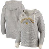 West Virginia Mountaineers Blue 84 Women's Striped French Terry V-Neck Pullover Hoodie - Cream