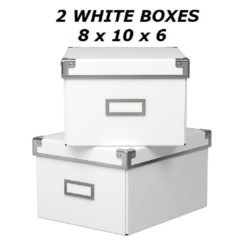 Ikea Kassett Storage DVD Boxes With Lid, 2 Pack, White, 8 1/4 X 10 1/4 X  6u0027u0027, Each Box Holds 15 DVDs By SuperCoolStuff