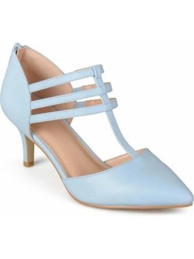 Womens T-strap Pointed Toe Matte Dress High Heels