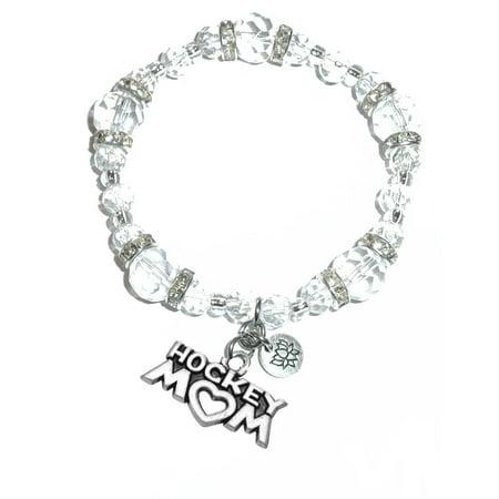 - Hidden Hollow Beads - Hockey Mom Charm Bracelet - Crystal Stretch
