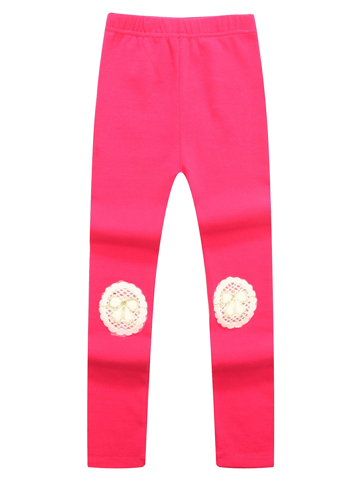 Richie House Girls' Leggings with Lace Applique RH1437