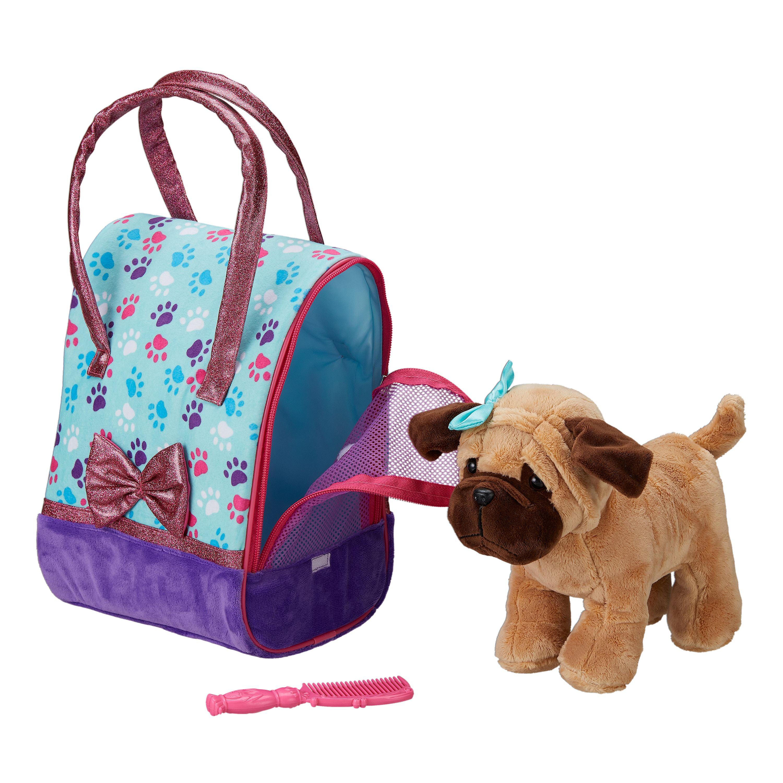 Set Of Dog Stuffed Animals, Plush Dog With Travel Carrier And Comb Stuffed Animal Toy Set 3 Pieces Walmart Com Walmart Com