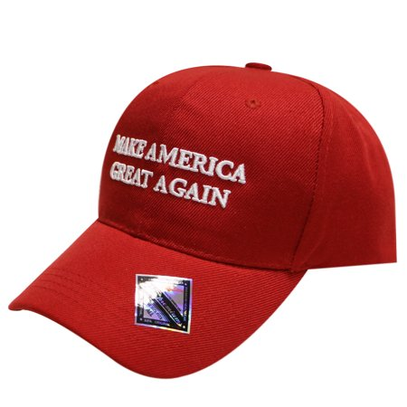 City Hunter Mens Trump Slogan Make America Great Again Velcro Baseball Cap  One Size  Red