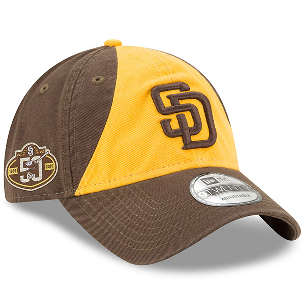San Diego Padres New Era 50th Anniversary Replica Core Classic 9TWENTY Adjustable Hat - Gold/Brown - OSFA
