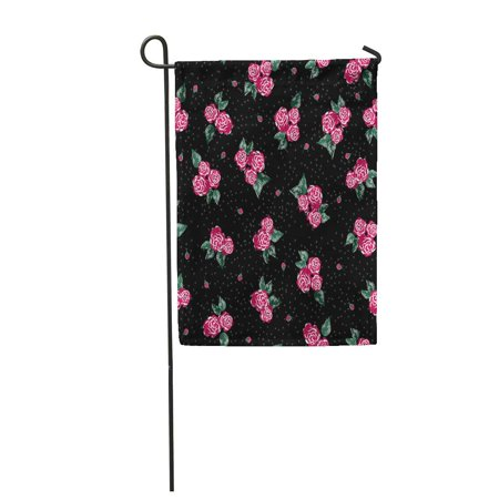 KDAGR Floral Chintz Ditsy Rose Pattern Black Polka Dot Pink and Green Girly Garden Flag Decorative Flag House Banner 12x18 inch
