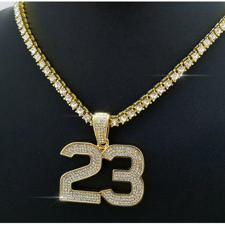 Men's Hip Hop 14K Gold Tone 23 Pendant w/ 16