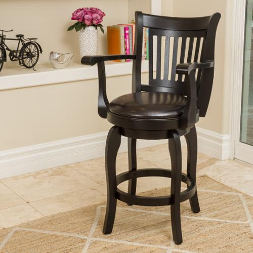 Sidney 24 Inch Espresso Leather Swivel Counter Stool With Arm