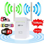 Wifi Range Extender, TSV AC750 Mbps Dual Band Wireless WiFi Repeater Signal Amplifier Booster Supports Repeater/ Access Point/ Router Mode with Network Interface White