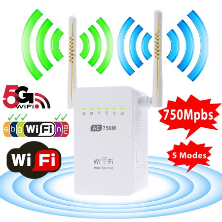 Wifi Range Extender, TSV AC750 750 Mbps Wifi Repeater Signal Booster Amplifier Dual Band 2.4GHz/5GHz with Ethernet Port Antenna 802.11 ac/b/g/n AP/Router/Repeater Mode Full Coverage Dual Band Cellular Amplifier